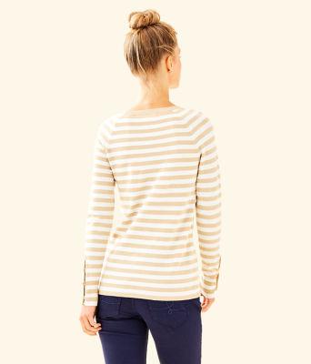 Dinah Crewneck Sweater, Coconut Two Color Positano Stripe, large 1