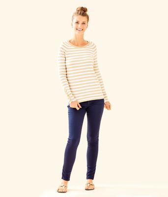 Dinah Crewneck Sweater, Coconut Two Color Positano Stripe, large 2