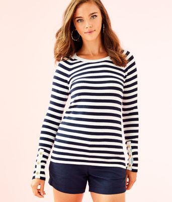 Dinah Crewneck Sweater, True Navy Two Color Positano Stripe, large 0