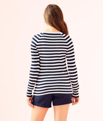 Dinah Crewneck Sweater, True Navy Two Color Positano Stripe, large 1