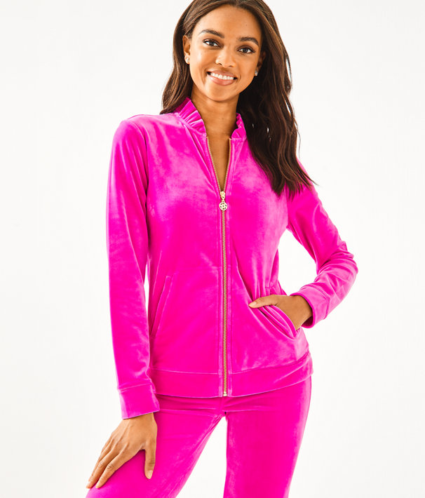 Jayla Velour Ruffle Zip Up by Lilly Pulitzer