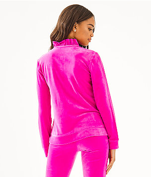 Jayla Velour Ruffle Zip-Up, Berry Soiree, large