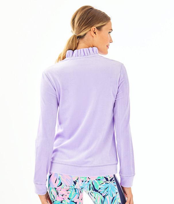 Jayla Velour Ruffle Zip-Up, Light Lilac Verbena, large