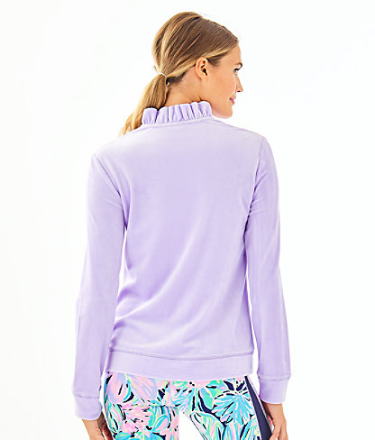 Jayla Velour Ruffle Zip-Up, Light Lilac Verbena, large 1