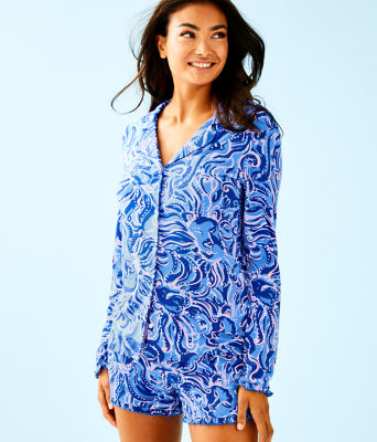 Ruffle PJ Button Front Top, Coastal Blue Whispurr, large 0