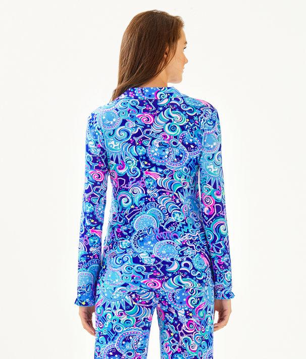 PJ Button Front Knit Ruffle Top, Lapis Lazuli Cosmic Kismet, large
