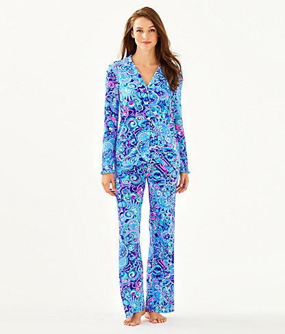 PJ Button Front Knit Ruffle Top, Lapis Lazuli Cosmic Kismet, large 2