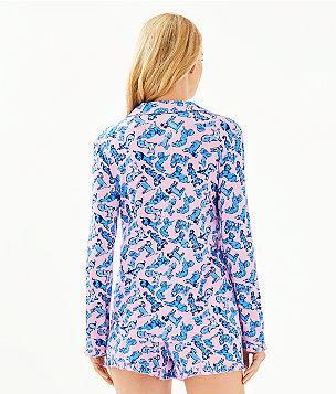 PJ Button Front Knit Ruffle Top, Zanzibar Blue Ruff Night, large