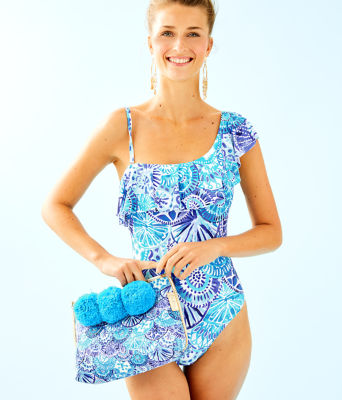 Tropez One-Piece Swimsuit, Turquoise Oasis Half Shell, large 0