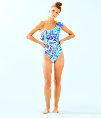 Tropez One-Piece Swimsuit, Turquoise Oasis Half Shell, large 2