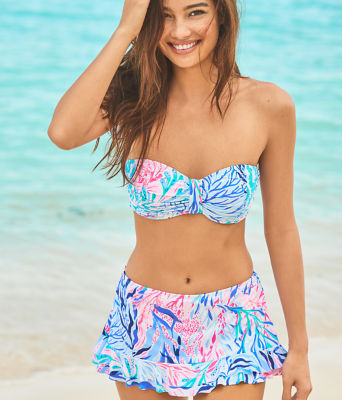 Monaco Hipster Ruffle Bikini Bottom, Crew Blue Tint Kaleidoscope Coral, large 3