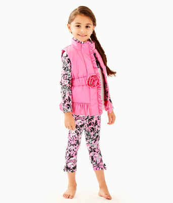 Girls Caylee Vest, Hibiscus Pink, large
