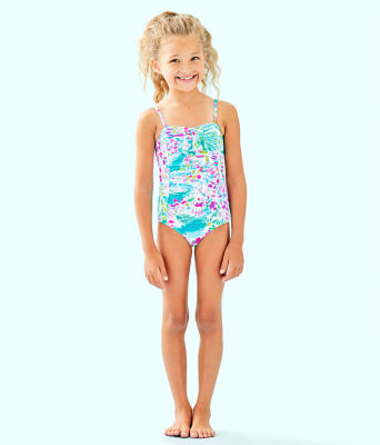 UPF 50+ Girls Mini Plumeria One-Piece Swimsuit, Multi Postcards From Positano, large