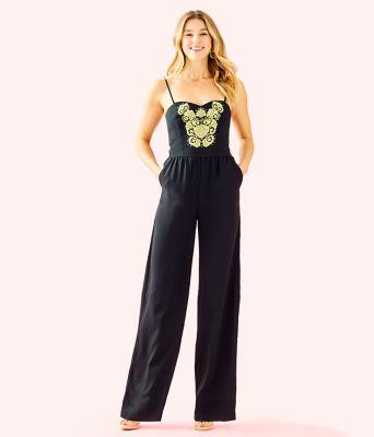 Janelle Embellished Jumpsuit, Onyx, large 0