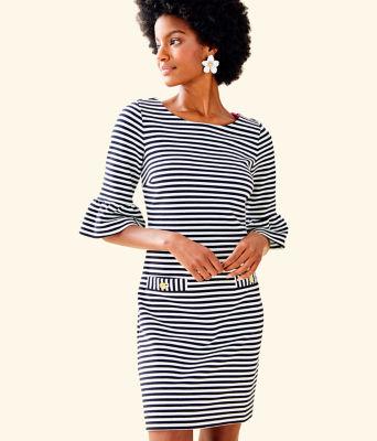 Alden Striped Dress, Coconut Ottoman Stripe, large 0