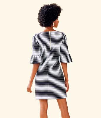 Alden Striped Dress, Coconut Ottoman Stripe, large