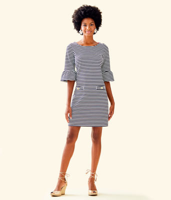 Alden Striped Dress, Coconut Ottoman Stripe, large 3