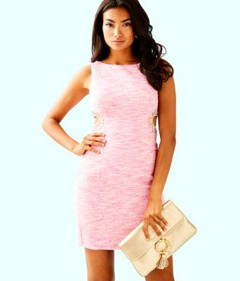 Catie Shift Dress, Pink Tropics Resort Boucle, large