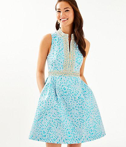 Franci High Collar Dress, Bermuda Blue Lagoon Jacquard, large 0