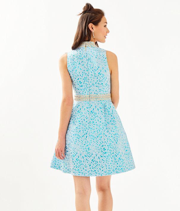 Franci High Collar Dress, Bermuda Blue Lagoon Jacquard, large