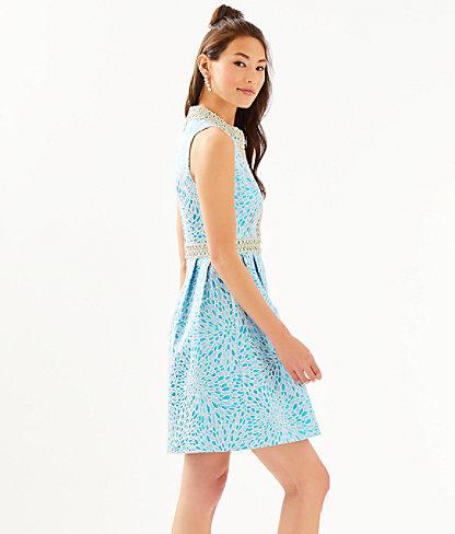 Franci High Collar Dress, Bermuda Blue Lagoon Jacquard, large 2