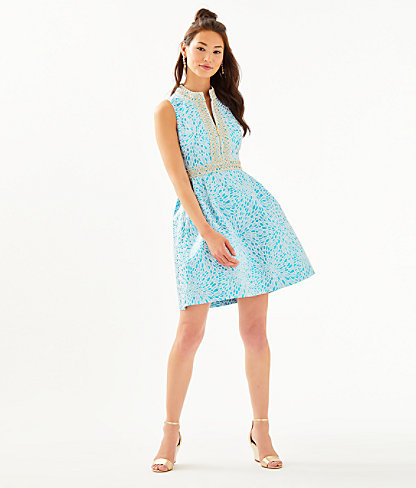 Franci High Collar Dress, Bermuda Blue Lagoon Jacquard, large 3