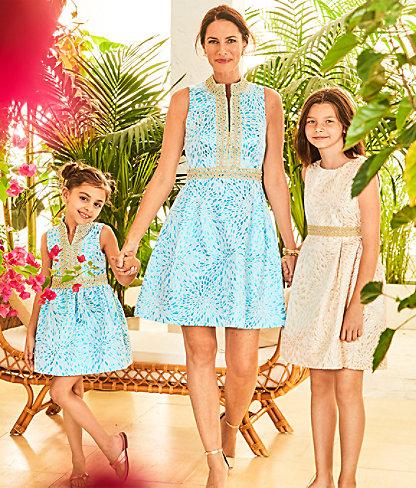 Franci High Collar Dress, Bermuda Blue Lagoon Jacquard, large 4