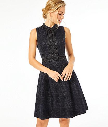 Franci High Collar Dress, Onyx Lagoon Jacquard, large 0