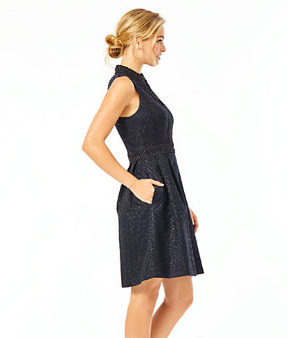Franci High Collar Dress, Onyx Lagoon Jacquard, large 2