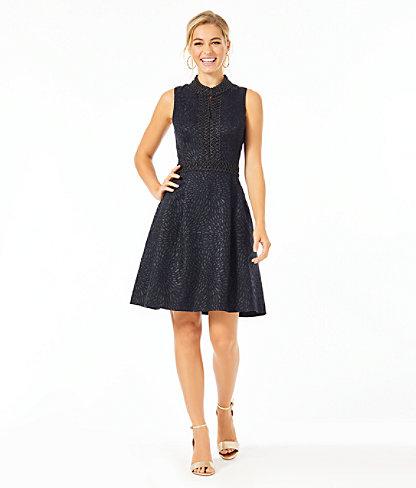 Franci High Collar Dress, Onyx Lagoon Jacquard, large 3