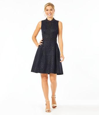 Franci Dress, Onyx Lagoon Jacquard, large 3