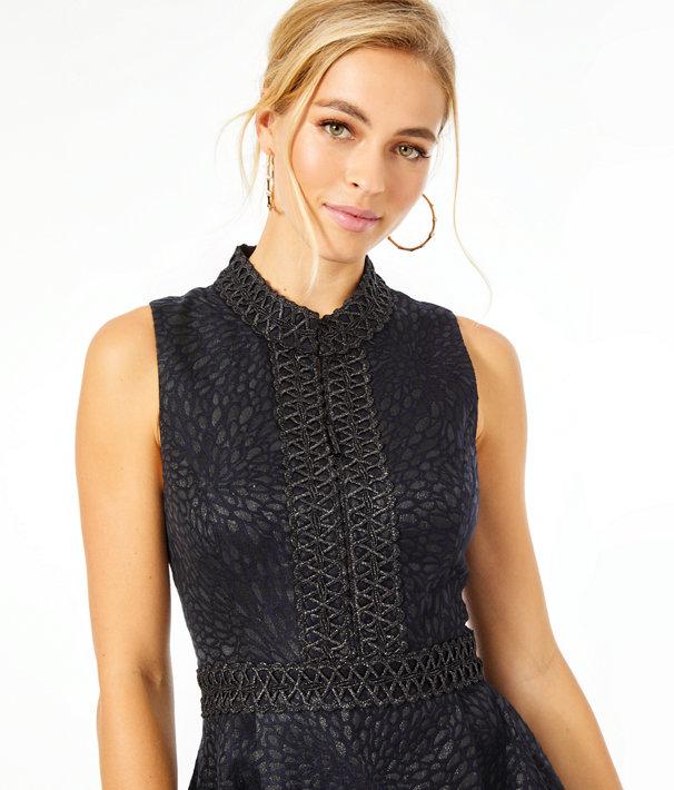 Franci High Collar Dress, Onyx Lagoon Jacquard, large