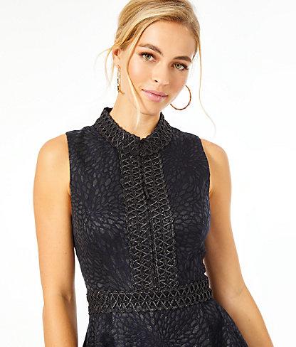 Franci High Collar Dress, Onyx Lagoon Jacquard, large 4