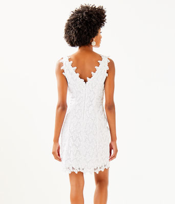 Reeve Shift Dress, Resort White Papillion Lace, large 1