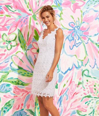 Reeve Shift Dress, Resort White Papillion Lace, large 5