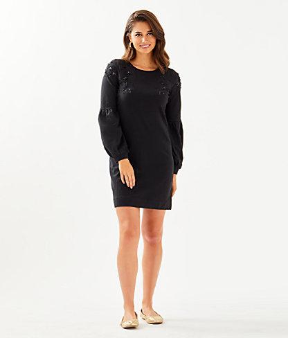 Bartlett Sweatshirt Dress, Onyx, large 3