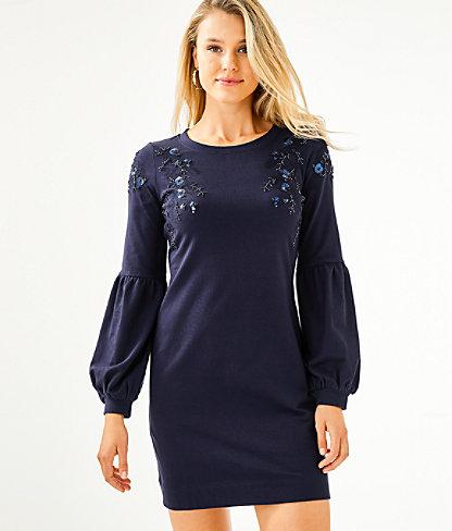 Bartlett Sweatshirt Dress, True Navy, large 0