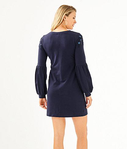 Bartlett Sweatshirt Dress, True Navy, large 1