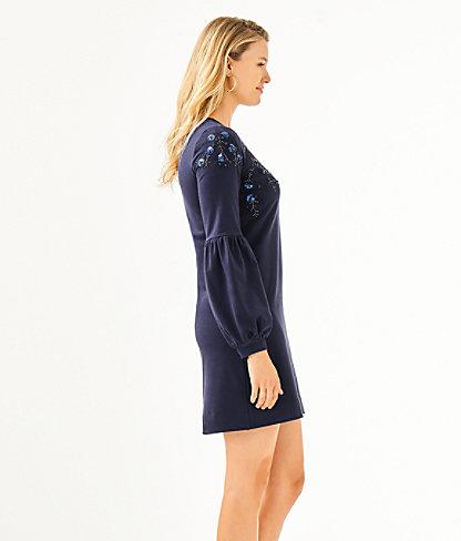 Bartlett Sweatshirt Dress, True Navy, large 2