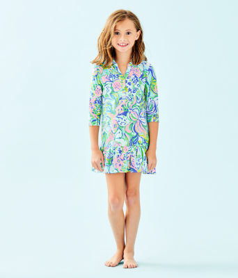 Girls Amelia Polo Dress, Multi Feline Good, large