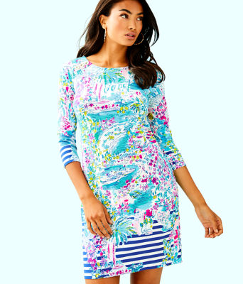 UPF 50+ Pearson Dress, Multi Postcards From Positano Engineered Knit, large 0