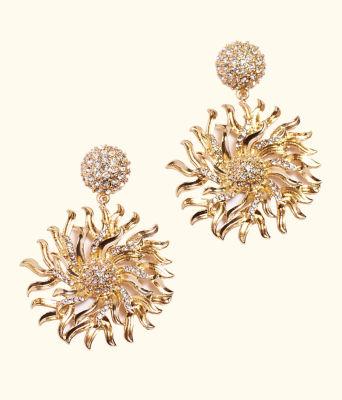 Chase the Sun 2 In 1 Earrings, Gold Metallic, large