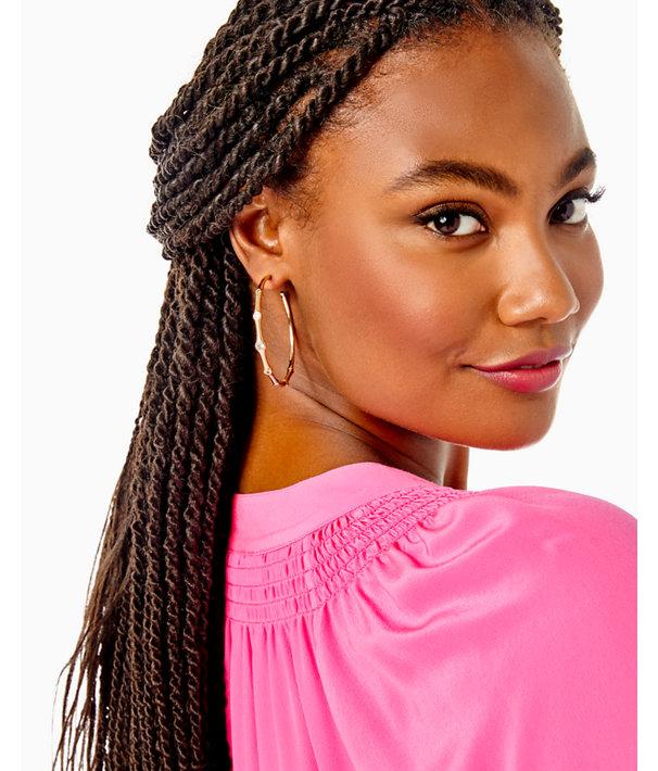 Twilight Hoop Earrings, Gold Metallic, large