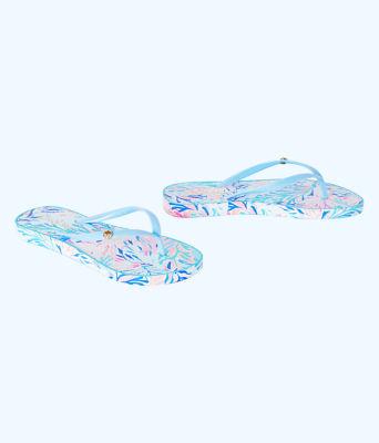 Pool Flip Flop, Crew Blue Tint Kaleidoscope Coral Shoe, large