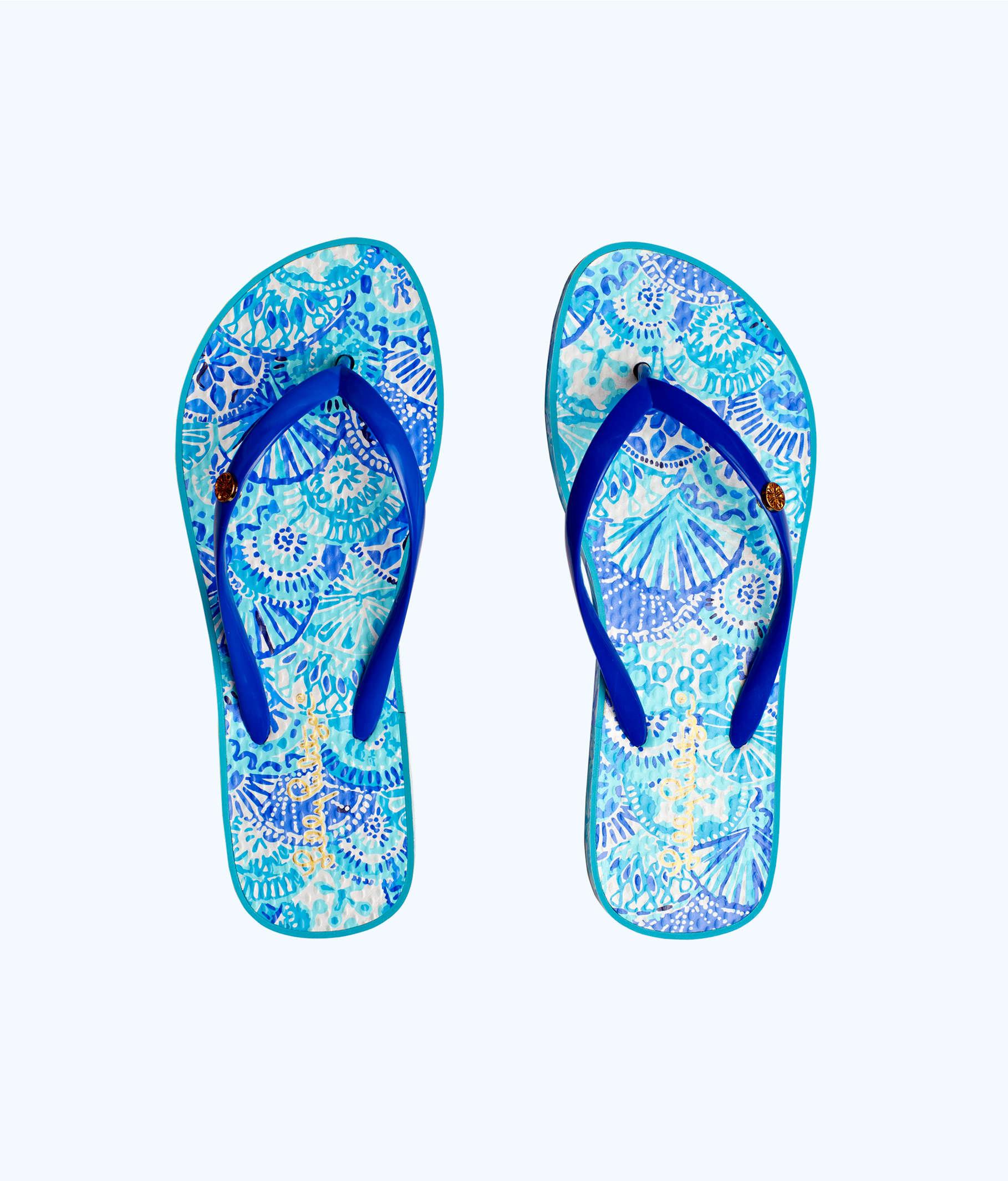 d03f3ec3c66d88 ... Pool Flip Flop, Turquoise Oasis Half Shell Shoe, large ...