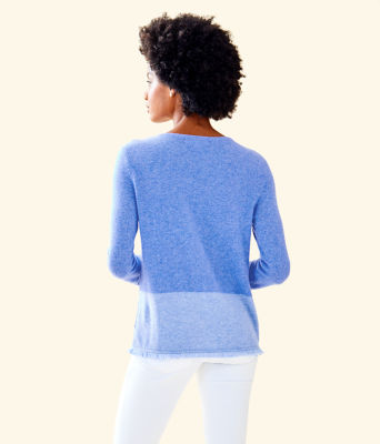 Rica Cashmere Sweater, Heathered Beckon Blue Heathered Bennet Blue Color Block, large 1