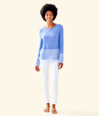 Rica Cashmere Sweater, Heathered Beckon Blue Heathered Bennet Blue Color Block, large 2