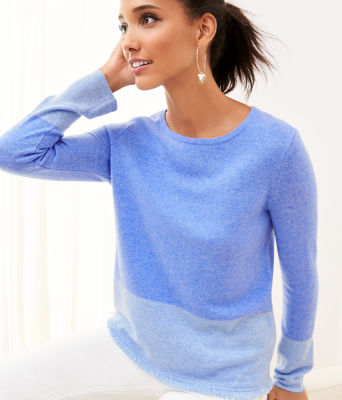 Rica Cashmere Sweater, Heathered Beckon Blue Heathered Bennet Blue Color Block, large 3