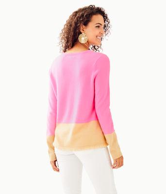 Rica Cashmere Sweater, Pink Tropics Heathered Sandbar Color Block, large 1