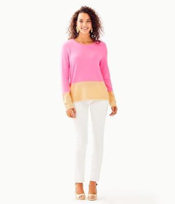 Rica Cashmere Sweater, Pink Tropics Heathered Sandbar Color Block, large 2